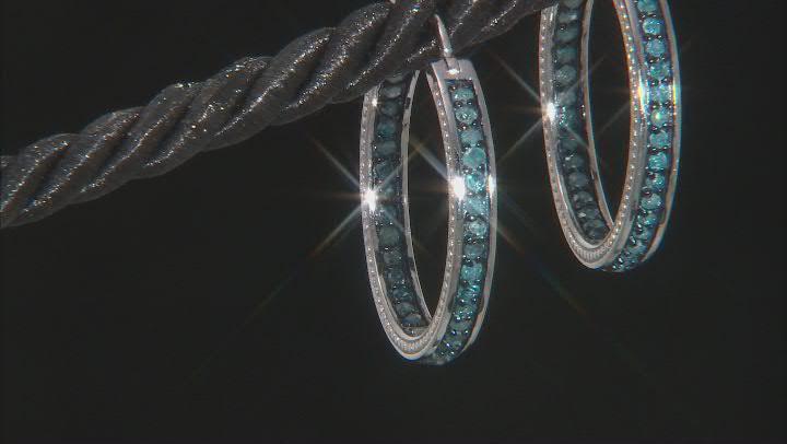 Blue Diamond Rhodium Over Sterling Silver Hoop Earrings 1.10ctw