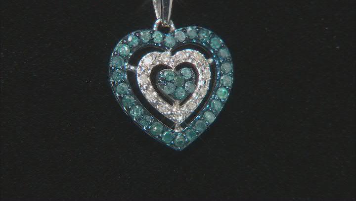 Blue Velvet Diamonds™ And White Diamond Rhodium Over Sterling Silver Heart Pendant 0.35ctw
