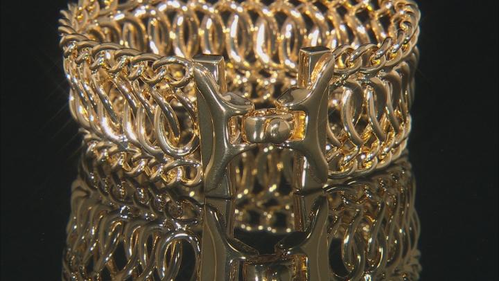 Womens Fancy Curb Link Bracelet 18k Yellow Gold Over Bronze 7.5 inch
