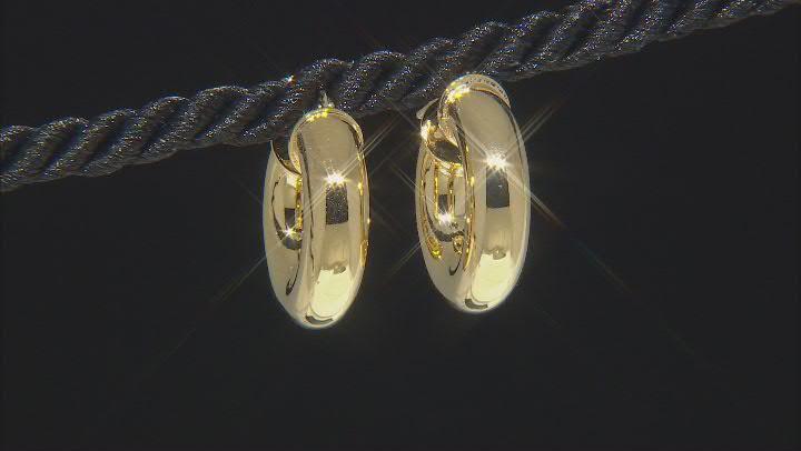18k Yellow Gold Over Bronze Tube Hoop Earrings