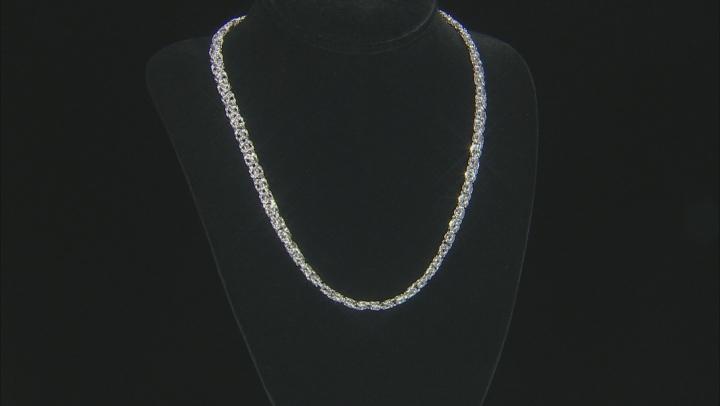 Moda Al Massimo® Rhodium Over Bronze Byzantine Necklace And Hoop Earring Set