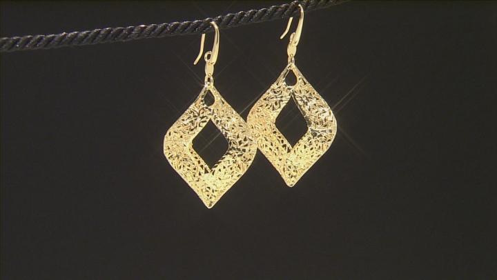 18k Yellow Gold Over Bronze Dangle Earrings