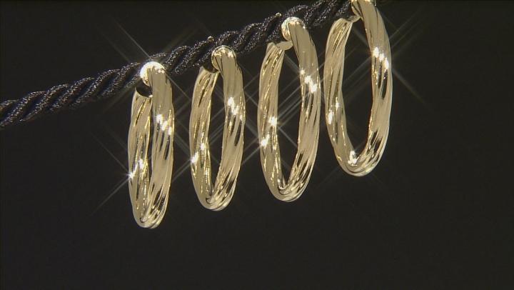 18k Yellow Gold Over Bronze Tube Hoop Earring Set Of Two