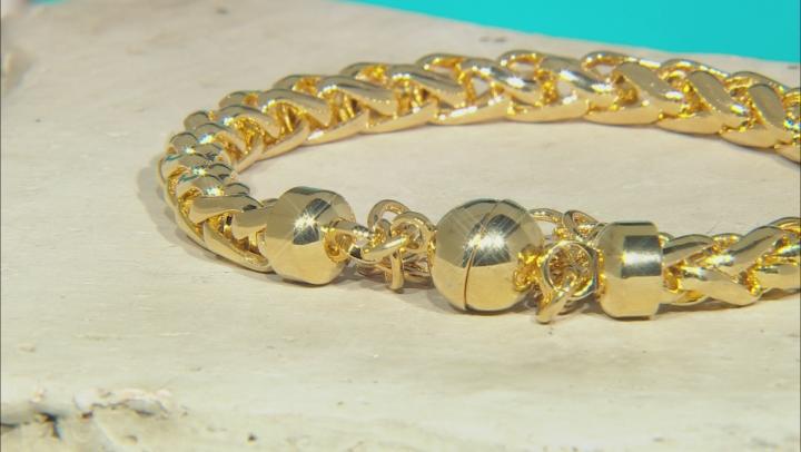 18k Yellow Gold Over Bronze Wheat Link Bracelet 8 inch 6mm