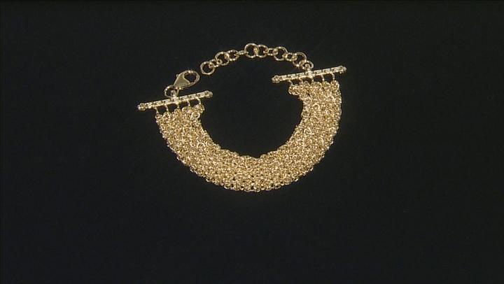 18k Yellow Gold Over Bronze 5 Row Byzantine Bracelet 9 inch