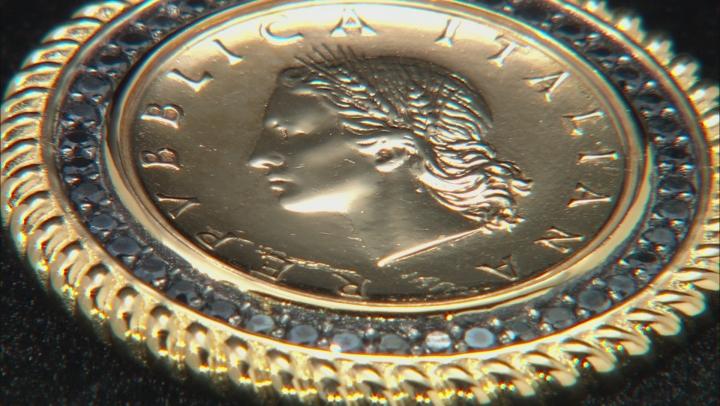 0.4ctw Black Spinel 18k Yellow Gold & Rhodium Over Bronze Lira Coin Pendant