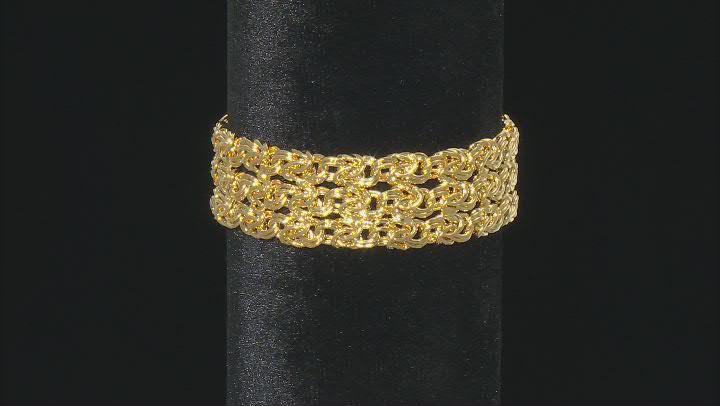 18k Yellow Gold Over Bronze 3 Row Rosetta Bracelet