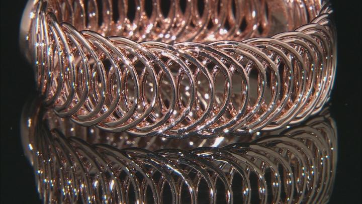18k Rose Gold Over Bronze Curb Bangle Bracelet 8 inch