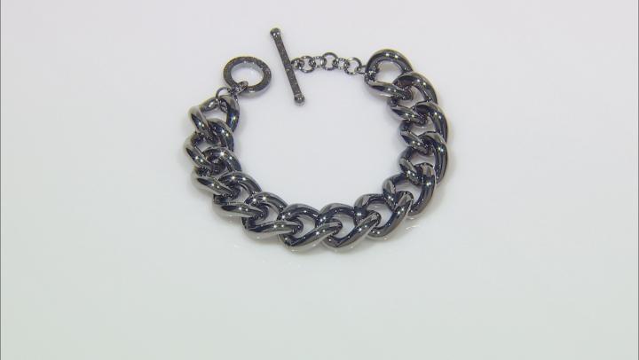 Gunmetal Rhodium Over Bronze Grande Curb 9.25 inch Bracelet