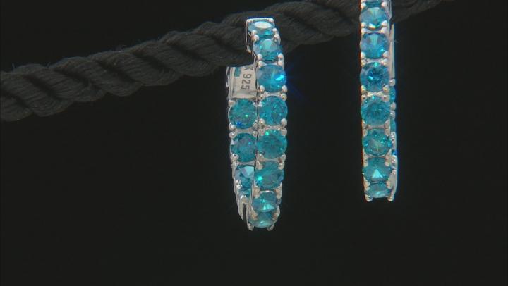 Blue Cubic Zirconia Rhodium Over Sterling Silver Hoop Earrings 2.38ctw