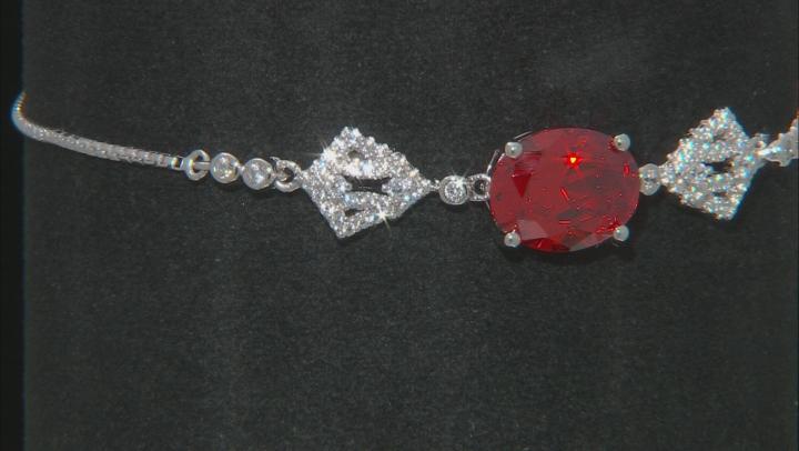 Orange and White Cubic Zirconia Rhodium Over Sterling Silver Adjustable Bracelet 5.22ctw