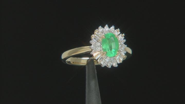 Green Emerald 10k Yellow Gold Ring 1.06ctw