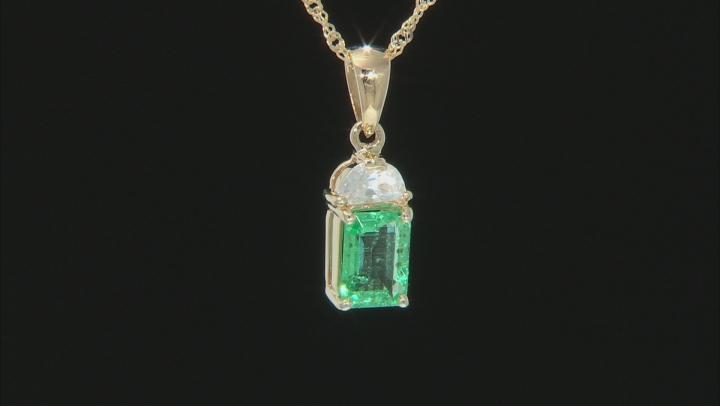 Green Ethiopian Emerald 10k Yellow Gold Pendant With Chain 1.23ctw