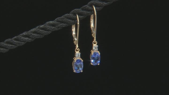 Blue Tanzanite 14k Yellow Gold Dangle Earrings .93ctw
