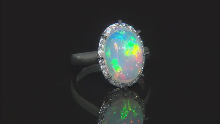Multi Color Ethiopian Opal Rhodium Over 10k White Gold Ring