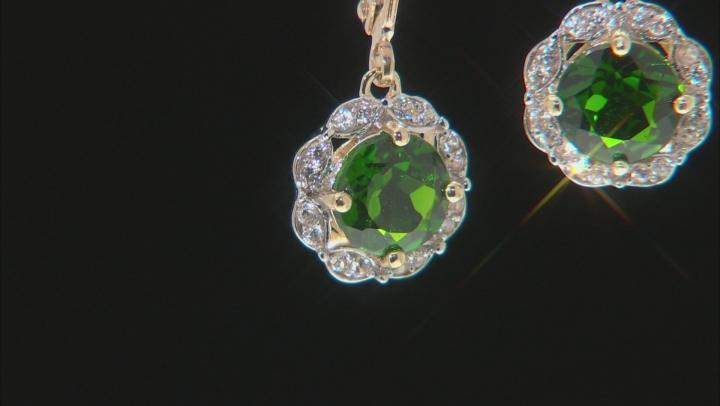 Green Russian Chrome Diopside 10k Yellow Gold Earrings 1.86ctw