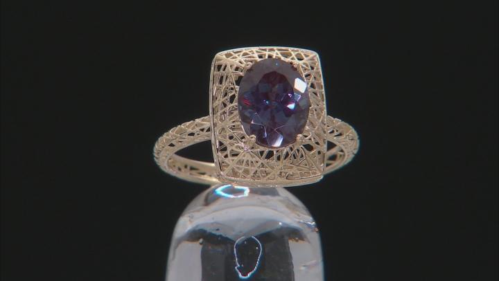 Blue Lab Created Alexandrite 10k Yellow Gold Ring 1.91ctw