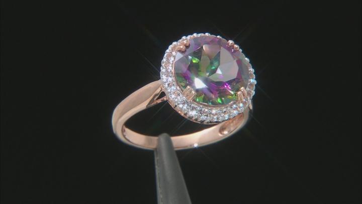 Green Mystic Fire® Topaz 10k Rose Gold Ring 5.69ctw