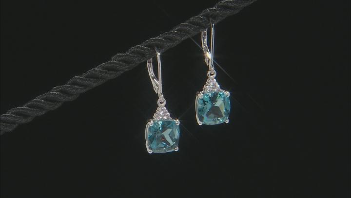 London Blue Topaz Rhodium Over 10k White Gold Earrings 6.95ctw