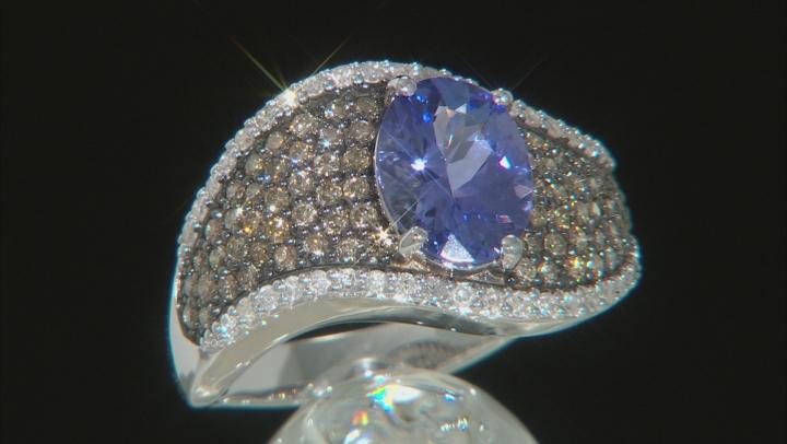 Blue Tanzanite  Rhodium Over 14k White Gold Ring 2.37