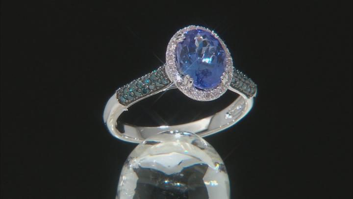 Blue Tanzanite Rhodium Over 10k White Gold Ring 1.94ctw