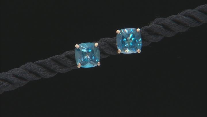 London Blue Topaz 10k Yellow Gold Earrings 2.00ctw