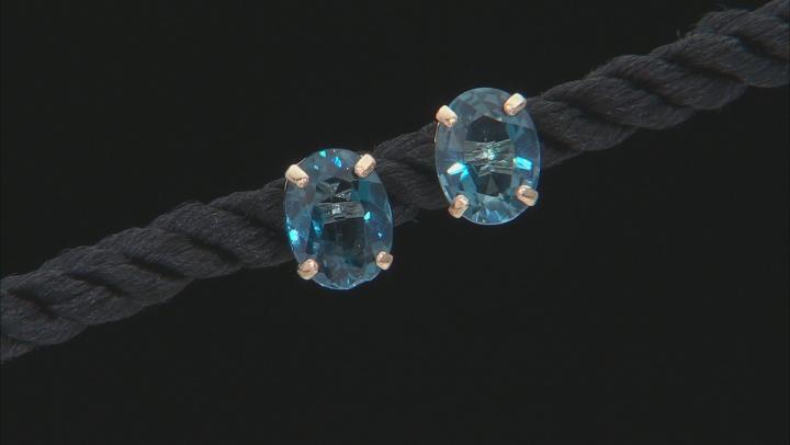 London Blue Topaz 10k Yellow Gold Stud Earrings 3.00ctw