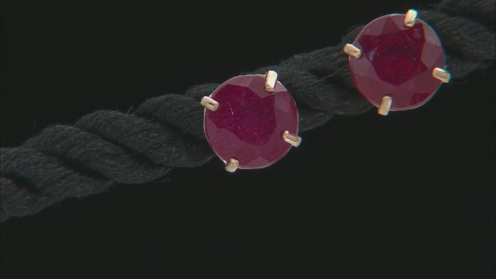 Mahaleo® Ruby 10k Yellow Gold Stud Earrings 2.48ctw