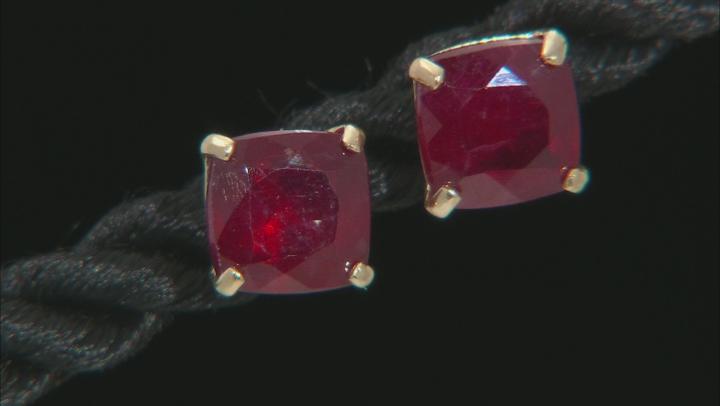 Red Mahaleo® Ruby 10k Yellow Gold Stud Earrings 2.84ctw