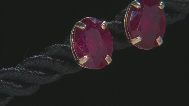 Red Mahaleo® Ruby 10k Yellow Gold Stud Earrings 3.60ctw