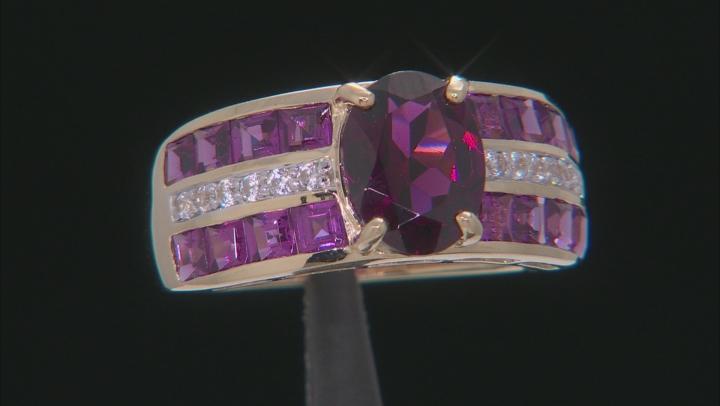 Grape Color Garnet 10k Yellow Gold Ring 3.88ctw