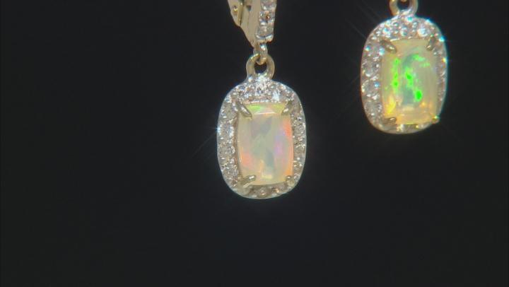 Multi Color Ethiopian Opal 10k Yellow Gold Earrings 1.07ctw