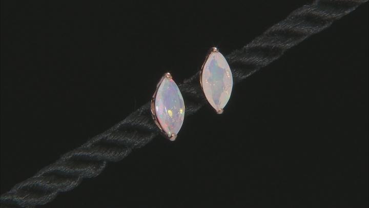 Multi Color Ethiopian Opal 10k Rose Gold Stud Earrings .79ctw
