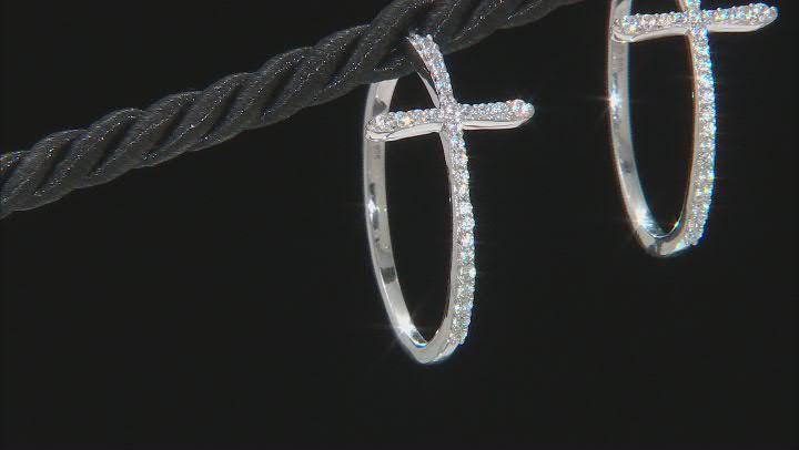 White Cubic Zirconia Rhodium Over Sterling Silver Cross Hoop Earrings 1.20ctw