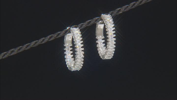White Cubic Zirconia Rhodium Over Sterling Silver Hoop Earrings 5.28ctw