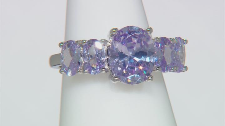 Lavender Cubic Zirconia Rhodium Over Silver Ring