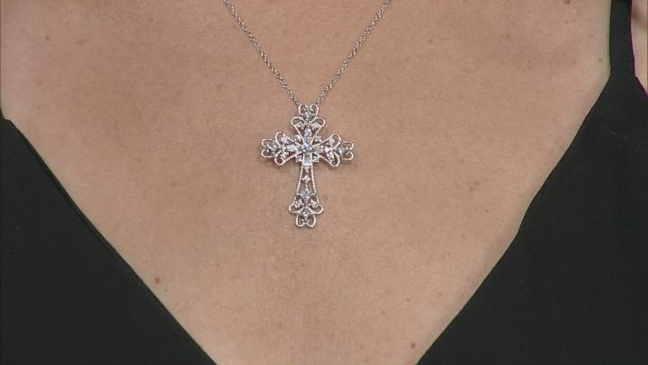 White Cubic Zirconia Rhodium Over Silver Cross Pendant 1.19ctw