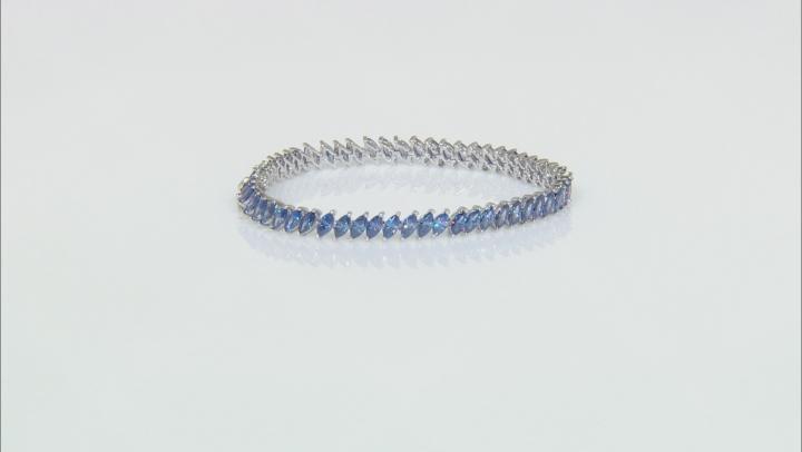 Blue Cubic Zirconia Rhodium Over Sterling Silver Bracelet 19.24ctw