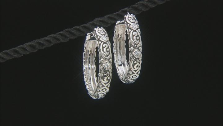 White Cubic Zirconia Rhodium Over Sterling Silver Hoop Earrings 0.22ctw