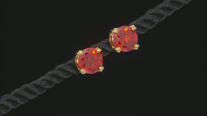 Orange Cubic Zirconia 18k Yellow Gold Over Sterling Silver Stud Earrings 6.66ctw