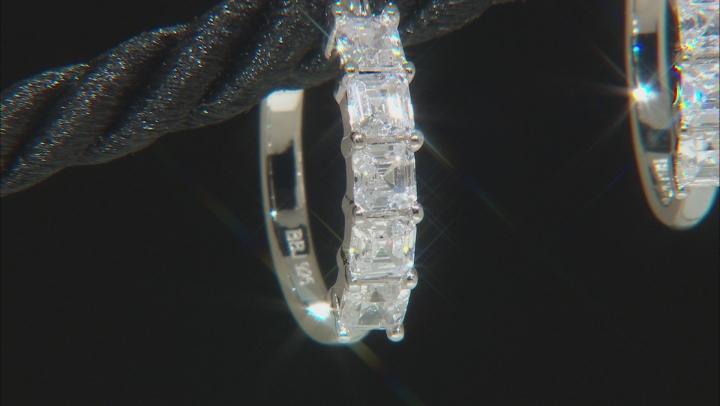 Asscher Cut White Cubic Zirconia Rhodium Over Sterling Silver Hoop Earrings 2.23ctw