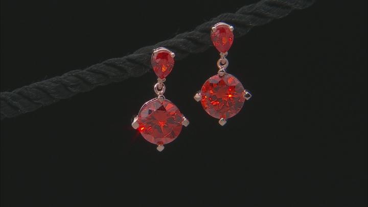 Orange Cubic Zirconia 18k Rose Gold Over Sterling Silver Earrings 7.91ctw