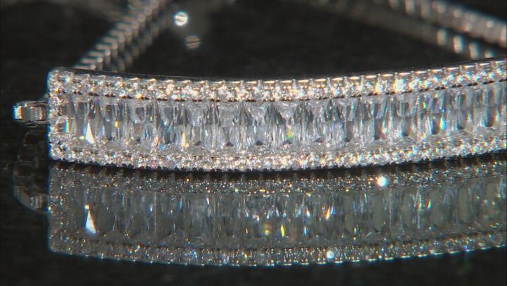 White Cubic Zirconia Rhodium Over Sterling Silver Adjustable Slide Bracelet 3.46ctw
