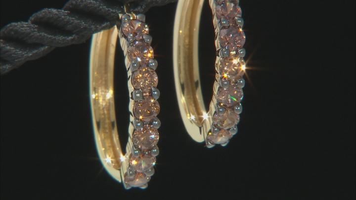 Mocha Cubic Zirconia 18K Yellow Gold Over Sterling Silver Hoop Earrings 2.70ctw