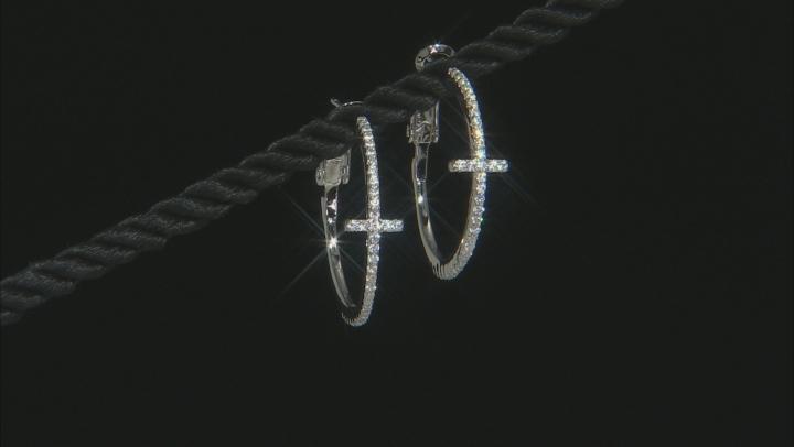 White Cubic Zirconia Rhodium Over Sterling Silver Cross Hoop Earrings 0.84ctw