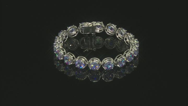Lavender Cubic Zirconia Rhodium Over Sterling Silver Tennis Bracelet 54.79ctw
