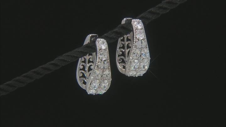White Cubic Zirconia Rhodium Over Sterling Silver Hoop Earrings 5.36ctw