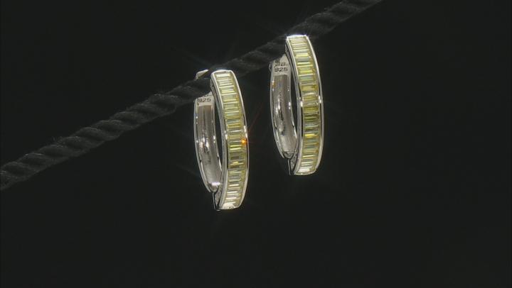 Yellow Cubic Zirconia Rhodium Over Sterling Silver Hoop Earrings 5.78ctw
