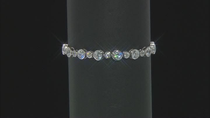 White Cubic Zirconia Rhodium Over Sterling Silver Adjustable Bracelet 8.91ctw