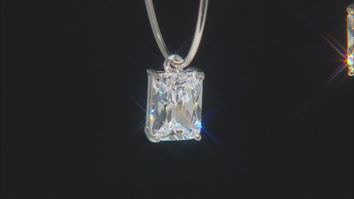 White Cubic Zirconia Rhodium Over Sterling Silver Hoop Earrings 5.00ctw